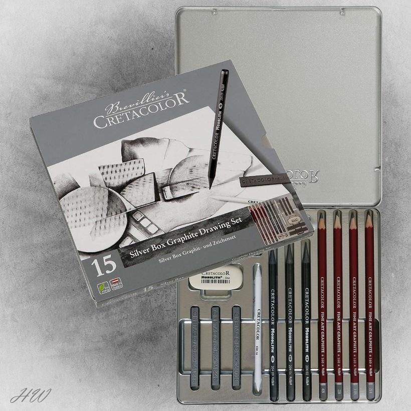 für prof Cretacolor Silver Box 17teiliges Graphitset in Holzkassette Zeichnen